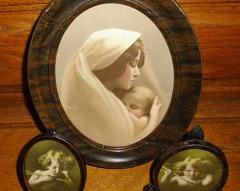 Antique Vintage Madonna and Child Cupid Asleep Cupid Awake Original Frames Photos 1897