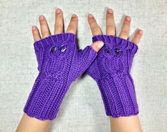 Owls Fingerless Gloves for Kids 4 to 6 Years, violet, handknitted Arm Warmers, Mittens
