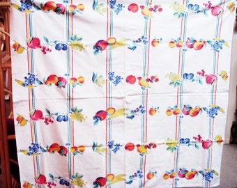 RETRO COTTON TABLECLOTH Bright Vivid Fruit pattern 54 x 50