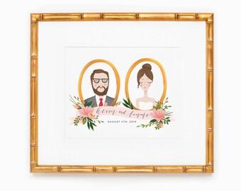 Custom couple portrait  |  couple portrait gift, family portraits, personalized gifts, family portrait, portrait from photo, unique gift