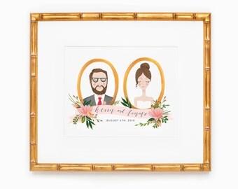 Custom bride and groom, newlywed, or couple portrait.