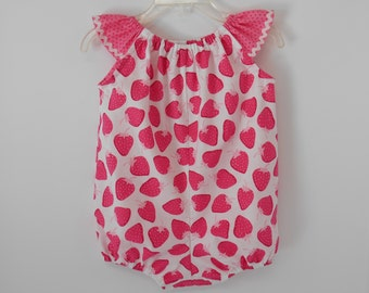 Baby Girl's Pink Strawberry Print Bubble Romper