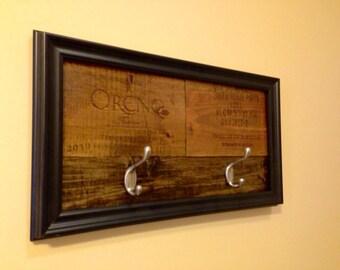 Wine Vineyard Reclaimed Wood Hanger Rack Hook  --Wine Art