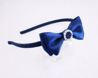 Navy Headband, Navy Bow Headband, Wedding Headband, Flower Girl Navy Headband, Navy Rhinestone Headband, Bow Tie Headband