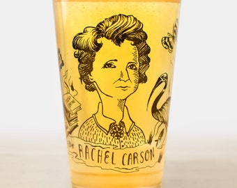 Rachel Carson: Heroes of Science Pint Glass | Nerdy science gift for ecology students or anyone who loves DNA and STEM and women in science!
