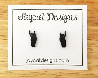 Black Cat Silhouette Earrings, Cat Stud Earrings