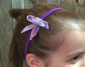 Zipper Bow Headband - light purple