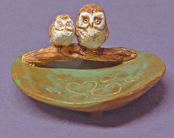 Handmade Ceramic Trinket  Dish with Two Owls - Ring Holder, Jewelry Holder, Birds, Love, Mother's Day Gift