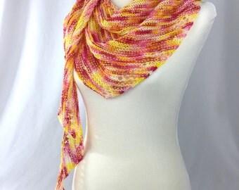 Shawl // shawlette // Yellow // pink // OOAK // Sweet Anemone Shawlette // strawberry banana // knit shawl
