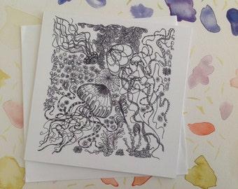 Jellyfish Illustration, Hand Drawn, FeFiFo, Digitally Printed, Any Occasion, Birthday Card, Greeting Card, Blank inside, Black & White
