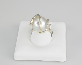 Sterling Silver South Sea Pearl Ring with a 14mm South Sea Pearl by Donna Pizarro from her Fine Pearl Jewelry Collection