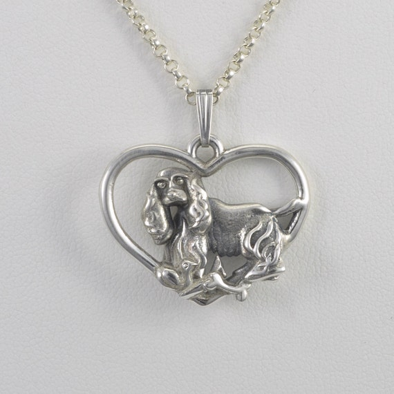 Sterling silver cocker spaniel pendant w 18 sterling for Just my style personalized jewelry studio