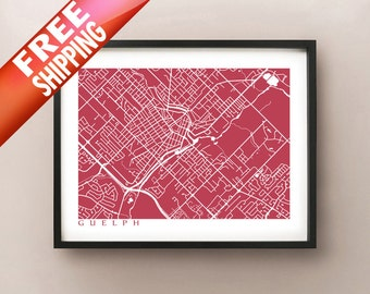Guelph Map - Ontario poster art