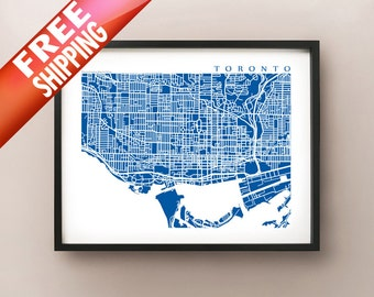 Downtown Toronto Map Art  - Ontario Poster Print