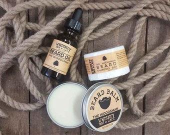 The Woodsman Beard Kit - Cedarwood, Patchouli and Eucalyptus Beard Oil, Balm, Beard Shampoo, Beard Maintenance Kit, Beard Grooming Kit