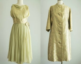 vintage 1960s dress set / 60s green and gold dress and coat / small