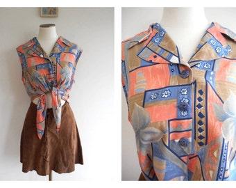 Vintage 80s Tie Up CROP Top // Abstract Floral Tie Waist Blouse // DAISY*DUKE Shirt // Boho // Hippy Hippie // Festival Wear // Size: L