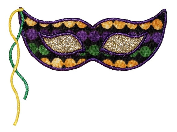 items similar to mardi gras mask applique embroidery design instant download on etsy. Black Bedroom Furniture Sets. Home Design Ideas