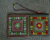 Sapa Hmong Polyester Embroidered Purse - Blue/Red/Yellow