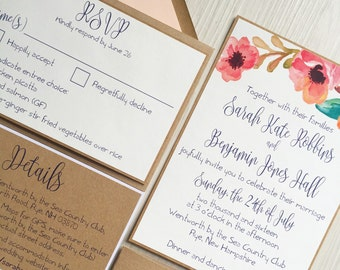 Rustic wedding invitation - rustic floral wedding invitation - wedding invitation bundle