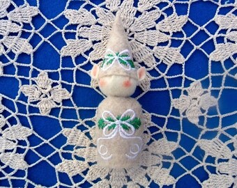 Elf Ornament ~ Decoration ~ Christmas ~ Holiday ~ Santa's Elf ~ Oatmeal Felt White Bow & Greens