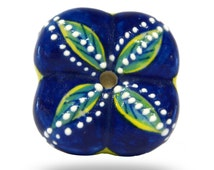 Unique Blue Painted Ceramic Furniture Knob, Decorative Cabinet Hardware for a Kitchen, Bathroom & Bedroom, Boho or Shabby Chic Cupboard Knob