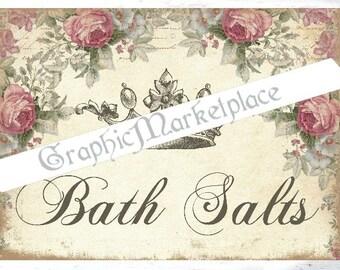 Bath Salts Roses Sel de Bain Powder Room Bain Shabby Chic Instant Download Transfer Burlap digital graphic printable No. 744