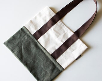 Outdoor handmade totebag with canvas and green denim