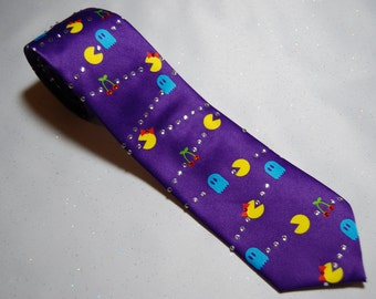 Pac-man and Mrs. Pac-man rhinestone necktie