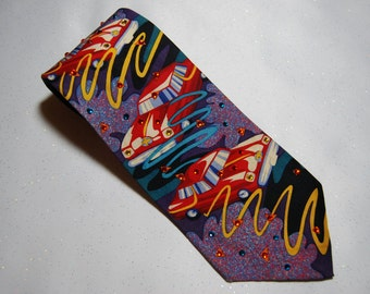 Drive My Car Beatles rhinestone necktie