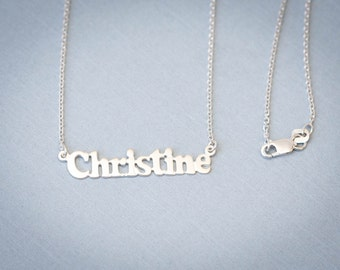 Personalized Sterling Silver Small Name Necklace - 925 Sterling Silver