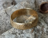 14k Gold plated ring in sterling silver, beautiful natural texture fine crafted designer ring.