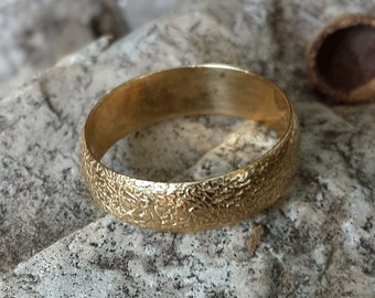 Engagement ring 14k Gold ring,  unique natural texture ,yellow gold , wedding ring.