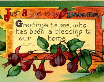 Just a Line of Greetings to My Daughter c1910 Vintage Postcard
