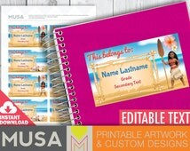 """PRINTABLE / EDITABLE Name labels for school supplies / Moana inspired / Size 3.5""""x2"""""""