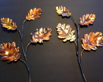 Hand Made All Copper OAK Leaves Wall Hanging