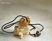 Pendant Pangolin with the baby, bone pendant, bone jewelry carving