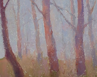Landscape, Birches, Painting in Handmade, Original Painting on Cardboard,  One of a Kind, Tonalism, Signed with Certificate of Authenticity