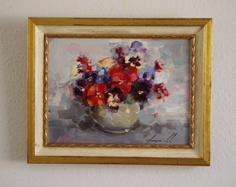 Oil Painting, Flowers, Vase of Pansies Framed Ready to Hang Signed Handmade painting  One of a Kind