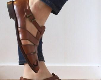 Vintage Women's Ralph Lauren Brown Leather Fisherman Sandals Huraches size 8.5