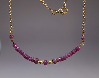 Ruby bar necklace, gold filled chain spacers  and filigree caps, Raw  microfaceted red rubies gemstone