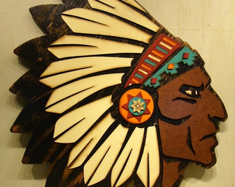 Cream Feathers Indian Head, Chief, Southwestern Rustic Sign, Indian Headdress, Vintage Look Decor, Southwest Decor, American Indian