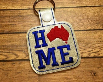 Australia - HOME - Aussie - Down Under - In The Hoop - Snap/Rivet Key Fob - DIGITAL Embroidery Design