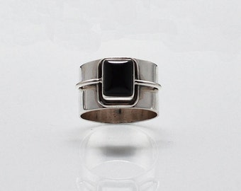 Wanderer  - Black Onyx and silver ring/ bohemian ring