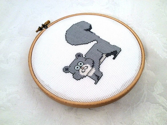 Knitting Room Fond Du Lac : Squirrel embroidery cross stitch pattern animal
