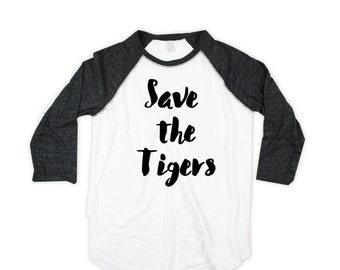 TIger unisex Baseball Shirt  - Raglan  - save the tigers baseball Shirt - American Made - Small, Medium, Large, XL