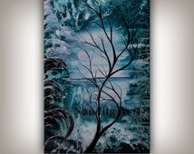 SALE - LANDSCAPE PAINTING Abstract painting on canvas large frost landscape tree art blue turquoise artwork tree of lige by Nandita Albright