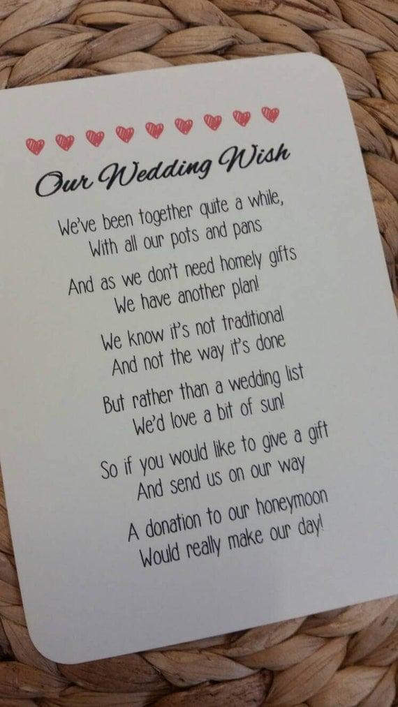 Reviews Of Wedding Gift Lists : Wedding Poem Invitation InsertMoney As A Gift4 Poems and ...