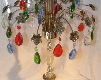 Beautiful Vintage Lamp With Colored Chandelier Crystals