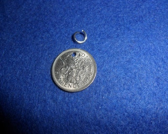 Old British coin Silver Sixpence Charm for a bracelet or necklace gift for a woman choose your year 1947 to 1967